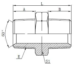 Deseño de adaptadores hidráulicos macho NPT