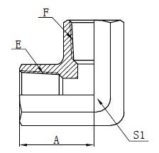 Deseño do adaptador de rosca feminino NPT